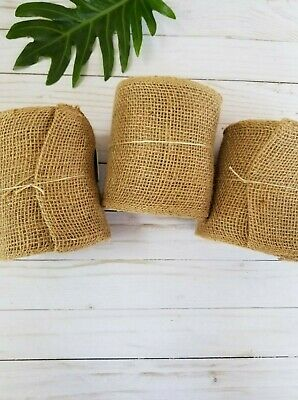 3 Pack of 5.5 Inches Wide 30 Feet Long Woven Burlap Craft Trim Roll - Natural