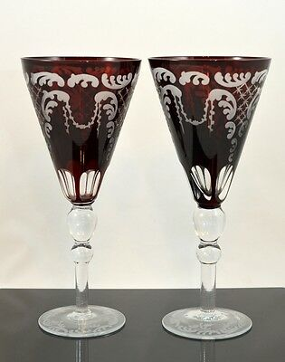 Antique Vintage Czech Bohemian Ruby Red Goblets Set Of 2