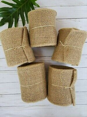5 Pack of 5.5 Inches Wide 30 Feet Long Woven Burlap Craft Trim Roll - Natural