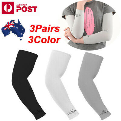 3Pairs Stretch Long Sleeves Cycling Golf Arm UV Protection Sun Covers A-U