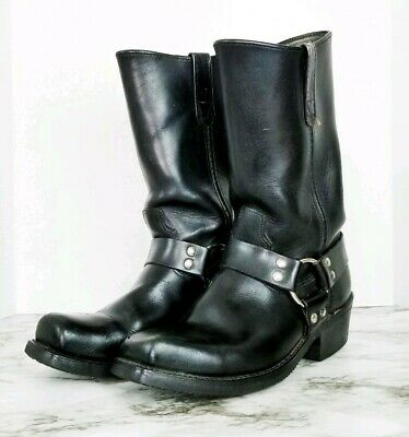 Men's Double H Black Harness Leather Engineer Motorcycle Boots 4008 Sz 8 D