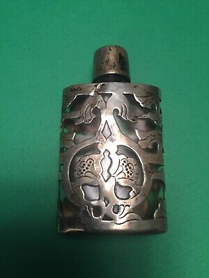 Vintage Mexican Sterling Silver On Glass Perfume Bottle Ornate .925 Antique