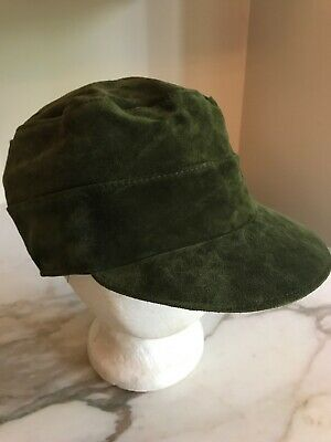 Nordstrom Green Suede Leather Hat Cap Military Fitted Made in Italy