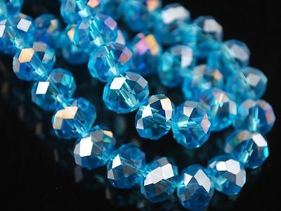 98pc 4x6mm Faceted Rondelle Crystal Glass Loose Spacer Beads Sky Blue AB