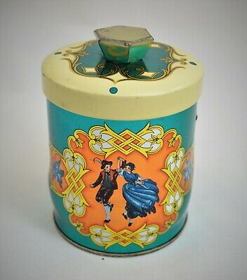 Vintage Murray Allen Cylindrical Tea Container Made In England Couple Of Dancers