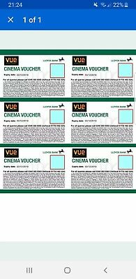 6 Vue Cinema Tickets - Expiry 05/03/2020 Club Lloyds emailed to buyer instantly