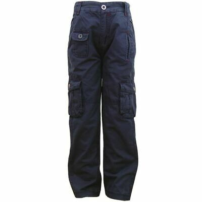 Boys Adams Navy Adjustable Waist Combat Cargo Style School Casual Trouser 2-6yrs