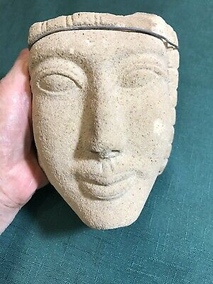 Antiquity, figurehead of stone, beautiful face, wired to hang, good condition