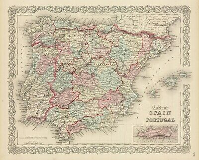 1860 Colton's Spain and Portugal (Original Hand Colored Antique Map)