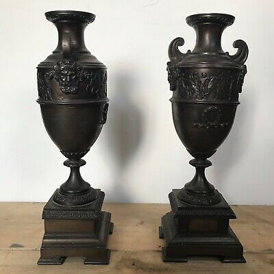 Spelter Garniture Urns / Candle Holders Hannibal Army Ancient Rome Pair
