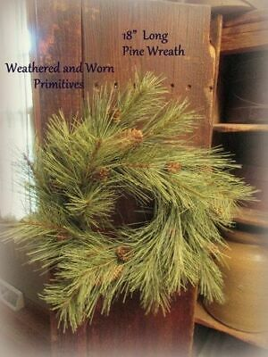 "Primitive Country Faux Long Needle Pine Christmas Winter 18"" Wreath - Realistic"