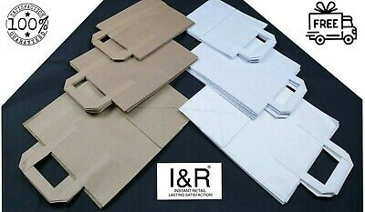 Brown Or White Takeaway Bags with Handles Strong Paper Carrier Bag Food Lunch