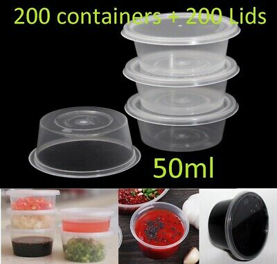 200 set 50ml Plastic Dipping Sauce Disposable Container Cups Lids Takeaway NEW