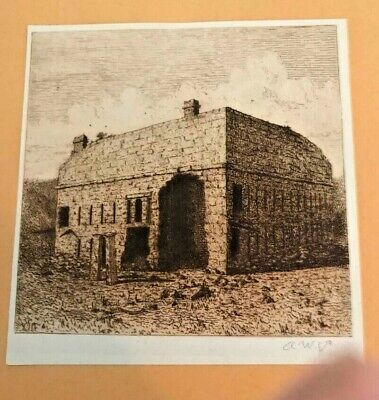 "A SANGSTER sign ETCHING FRAMED Limited Edition ""Ruin Old Fort Porter South Side"