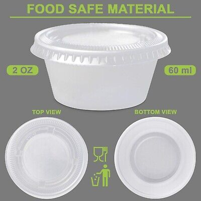 50ml Plastic Dipping Sauce Disposable Container Cups Lids Takeaway 100 - 1000set