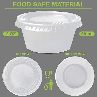 60ml Plastic Dipping Sauce Disposable Container Cups Lids Takeaway 100 - 1000set