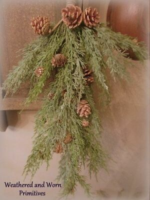"Primitive Country Faux Cedar & Pine Cone Christmas Winter Door Hanging 27"" Long"