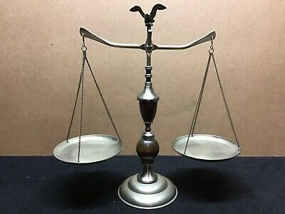 Scales of Justice Vintage Eagle Antique Lawyer Scale Metal & Wood circa1960