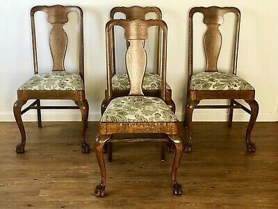 Set Of Four Antique Tiger Oak Claw Foot Chairs