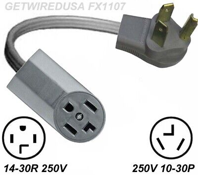 Old Style Dryer 10-30P 3-Pin Plug To New Style 14-30R 4-Pin Receptacle Adapter