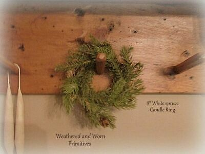"""Primitive Country 8 - 9"""" Faux White Spruce & Cones Christmas Winter Candle Ring"""