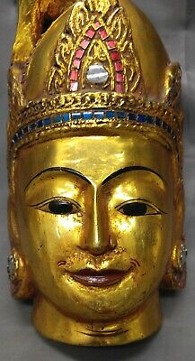 Old Vintage Hand Carved Wooden Wall Hanging Mask Asian Thailand