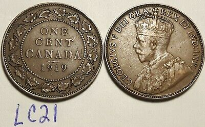 1919 & 1920  Canada Large Cent Penny King George V Lot of 2 Coins LC21a
