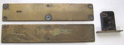 Vtg Pair Large Brass Bronze Skeleton Key Door Backplate w/Yale Lock -Push Plate