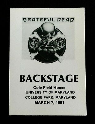 Grateful Dead Backstage Pass Maryland Terrapins Terps MD 3/7/81 3/7/1981 Griffin