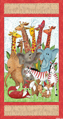 Wild Things Quilt Panel * Playful Zoo * New *  Free Post * Super Cute *