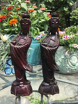 """Vintage Asian Wooden Hand Carved figures Approx 12"""" Taiwan"""