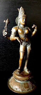 Indian Chola Style Bronze Ardhanarishvara Hindu God Shiva Antique Large Metal