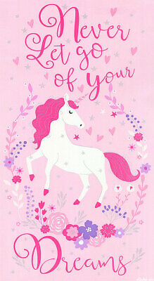 Never Let Go Of Your Dreams Unicorn Quilt Panel * Sweet * Free Post *