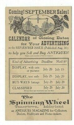 Taneytown MD, UX28 Postal Card Advertising, The Spinning Wheel Antiques Magazine