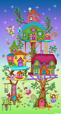 Fairyland Tree House Magic Quilt Panel * Cute * New * Free Post *