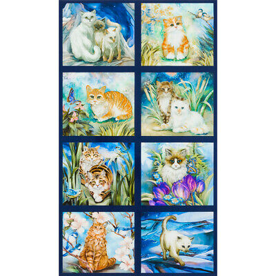 Be Pawsitive Quilt Panel * Cats & Flowers * New * In Stock * Free Post *