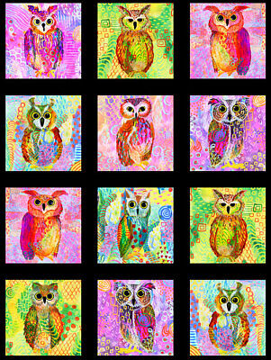 Magestic Owls Quilt Panel * New * Free Post * Digitial * Large Panel *