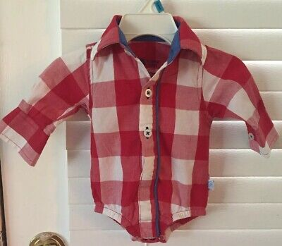 Ruffle Butts Baby Boy Red/White Gingham Button Down Bodysuit, Size 0-3 Mos.
