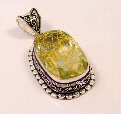 Golden Needle Rutlie .925 Silver Plated Hand Carving Pendant Jewelry JC6636