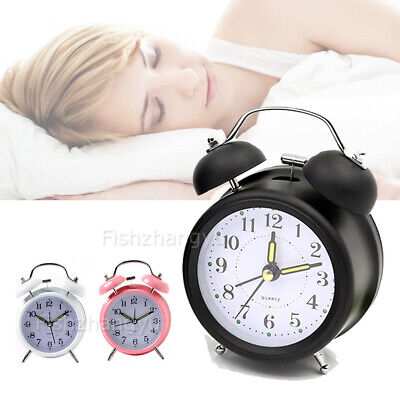 Twin Bell Alarm Clock Vintage Retro Loud Clocks Battery Bedside Desk Analogue O