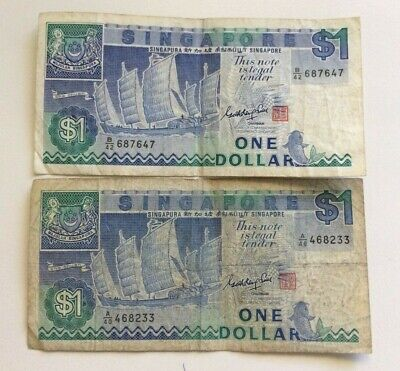 Singapore 1984 1 dollar  note x 2.
