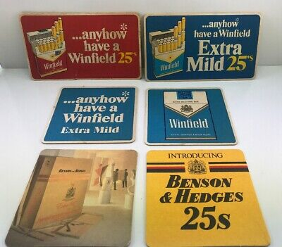 Lot Of 6 VINTAGE WINFIELD 25's BENSON & HEDGES DRINK/BAR COASTERS MAN CAVE