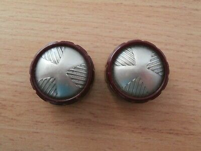 2 x Vintage Radio knobs HMV 1950s Maroon & Silver Little Nipper