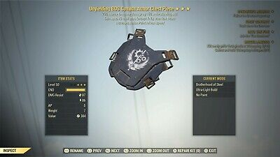 Fallout 76 (PS4) Unyielding Sentinel BOS Combat Armor Set