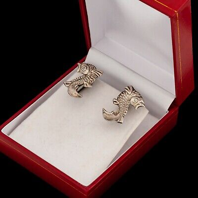 Antique Vintage Art Deco Sterling 925 Silver Mexican Taxco Fish Cluster Earrings