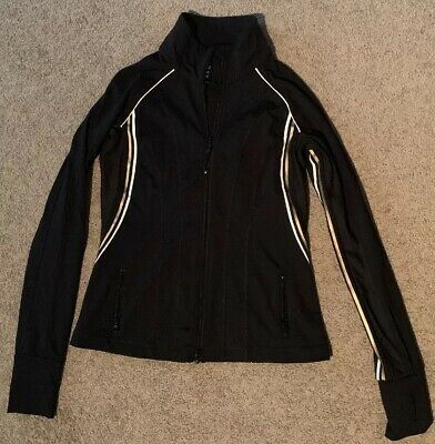 Lorna Jane - Black (Gold and White) Zip Through Jacket - Size Small