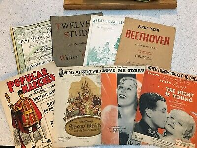 8 Vintage Piano Sheet Music and Books Mixture Of Genres