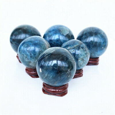 1PC Natural Blue Apatite Crystal Ball Sphere Quartz Crystal Mineral Healing NEW