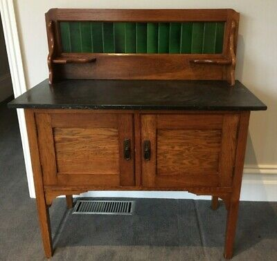 Antique Washstand with Marble Top & Tile Backsplash