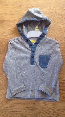Baby Boys Blue Hooded Long Seeved Top. 6/9 Months Brand New